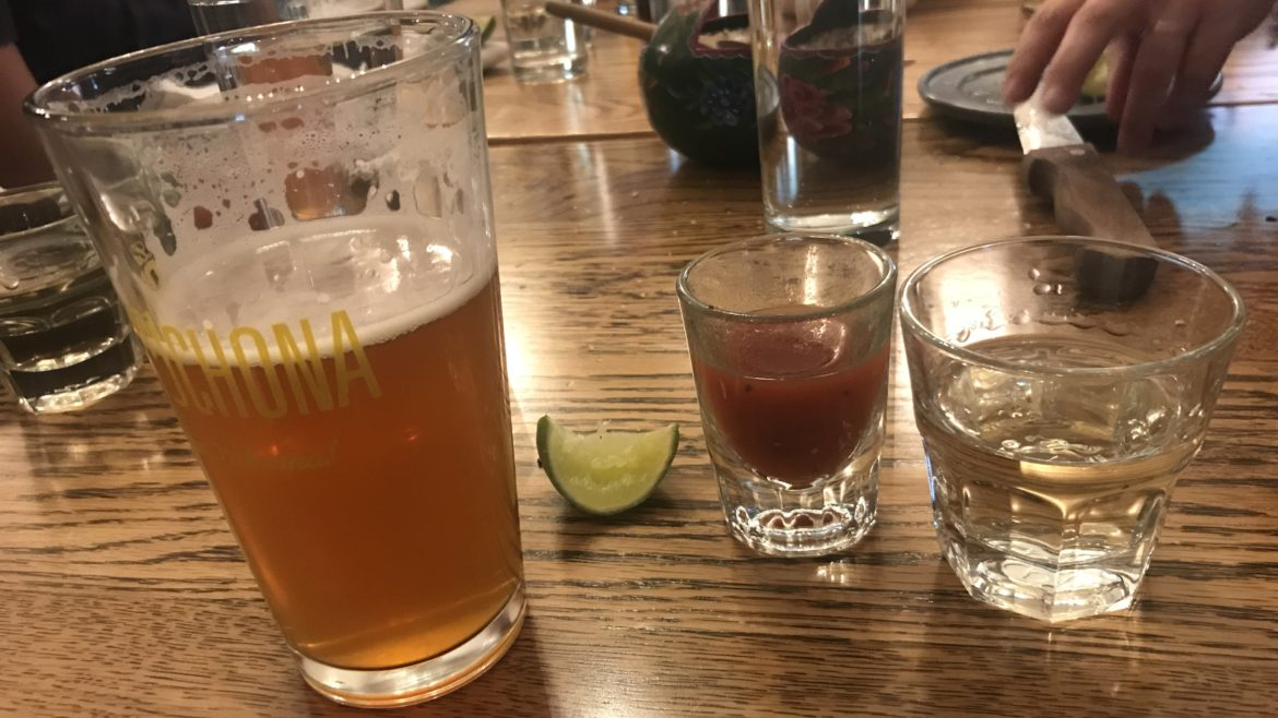 Photo of a Mexican Salad –Mezcal, Beer and a chaser
