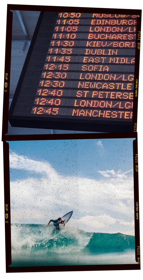 Photos of a departure board and a surfer